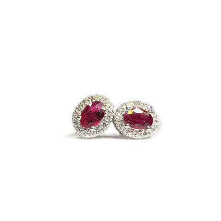 Orecchini ovali con rubini e diamanti Casa Torelli