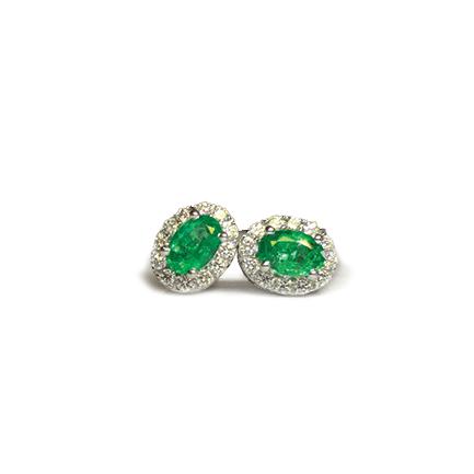 Orecchini ovali di smeraldo e diamanti Casa Torelli