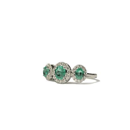 Anello Trilogy con smeraldi e diamanti Casa Torelli