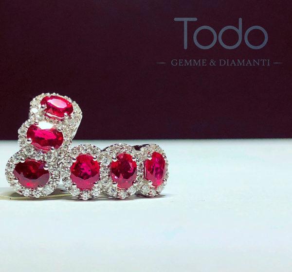 orecchini rubino rosso e diamanti
