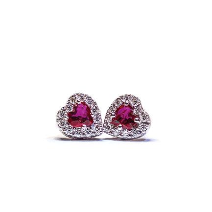 Orecchini a forma di cuore con rubini e diamanti Casa Torelli