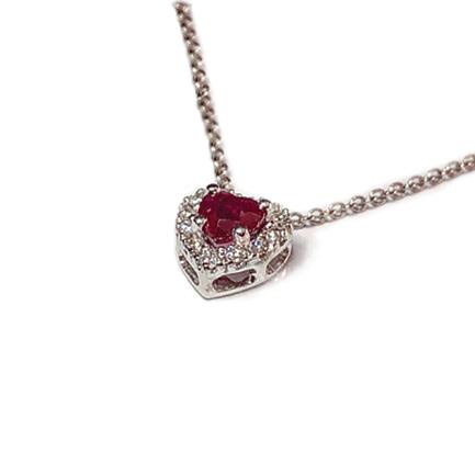 Pendente a forma di cuore con rubini e diamanti Casa Torelli