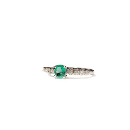 Anello solitario con smeraldo e otto diamantini Casa Torelli