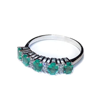 Anello con cinque smeraldi e diamanti Casa Torelli