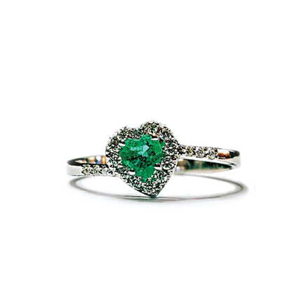 Anello a forma di cuore con smeraldo e diamanti Casa Torelli