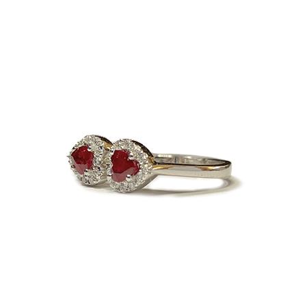 Anello con due cuori di rubino e diamanti Casa Torelli