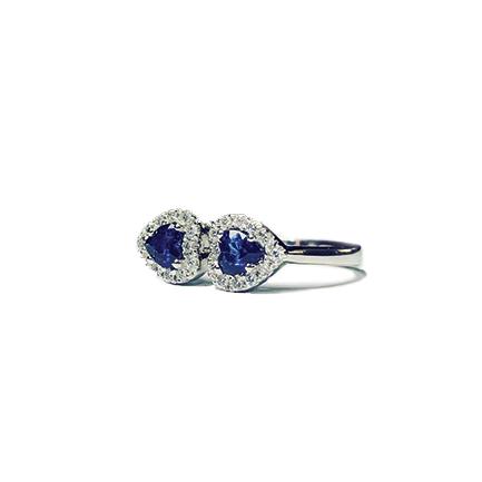 Anello con due cuori di zaffiri e diamanti di Casa Torelli