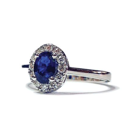 Anello solitario ovale con zaffiro e diamanti Casa Torelli