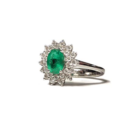Anello solitario con smeraldo e diamanti Casa Torelli