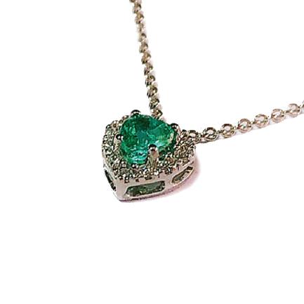 Pendente a forma di cuore con smeraldo e diamanti Casa Torelli